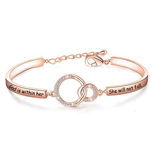 Christian Gift Religious Jewelry Psalm 46:5 God is Within Her She Will Not Fall Bracelet Bible Verse Bracelet Gift For Godmother (God Is RG)