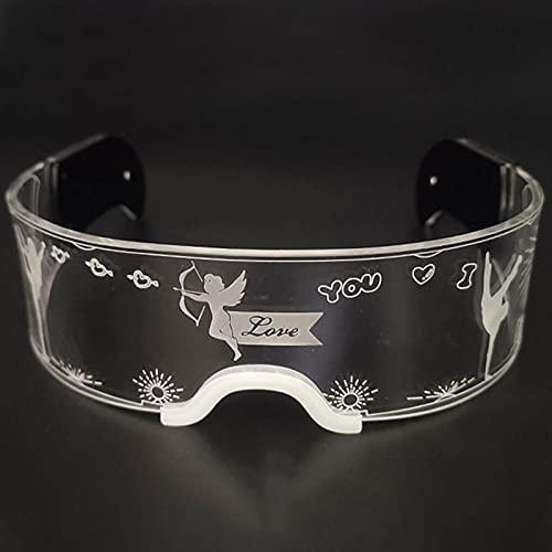GHMPNLG Las gafas de brillo de color fresco del partido, las gafas de la atmósfera de la barra, las gafas de visera LED, están hechas de materiales acrílicos de calidad, para la fiesta Cosplay, Hallow