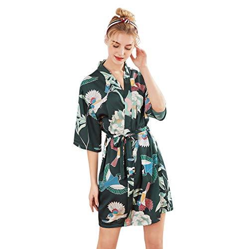 Kimono Mujer Batas,Pijama de la Boda para el camisón Albornoz De Satén para Mujer con Estampado De Damas Camisón De Manga Corta Mujer Vestido Kimono Corto Pijama Bata