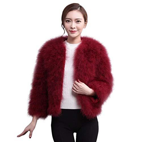 Damen Kunstpelz Mäntel Frauen Faux Pelz Weichen Bekleidung Festlich Straußenfedern Pelz Jacke Flauschigen Winter Unique Gemütlich Übergang Mäntel (Color : Wein rot, Size : L)