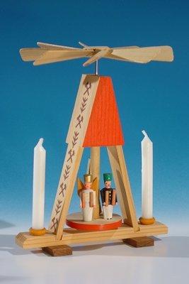 Warmtespel miniatuur piramide met engel en bergmann, rood voor radiator of poppenkaarsen (7 mm x 40 mm) hoogte ca. 13,5 cm NIEUW tafelpiramide minipiramide zeep Ertsgebergte