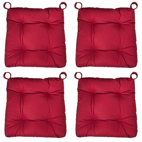 sleepling 4er Set Stuhlkissen/Sitzkissen Eva für Indoor und Outdoor, Maße: 40 (vorne) / 35 (hinten) x 38 x 8 cm, rot