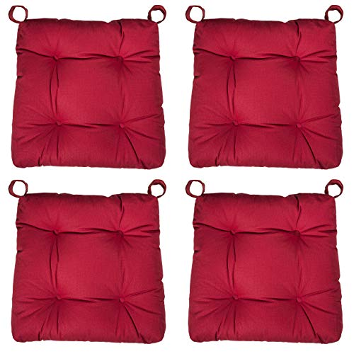 sleepling 190201 Set di 4 Cuscini per Sedia I Cuscino da Seduta, Dimensioni: 40 (avanti) / 35 (Dietro) x 38 x 5 cm, Rosso