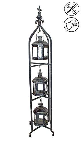 ABC Home Garden Laternenständer Kerzen und Teelichter 3 Laternen Gartendeko Weihnachtsdeko, Patina oxidierte Bronze-Look, 26,5 x 26,5 x 116 cm