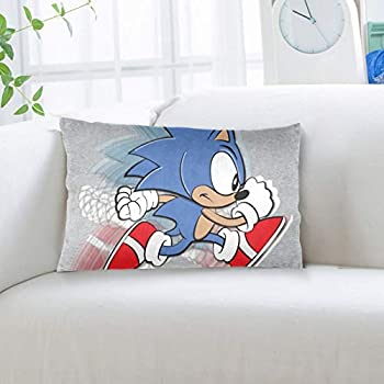 668 Throw Pillow Case Standard Size 20x36 Inch Pillowcase Sonic The Hedgehog Speed Pillow Cover with Hidden Zipper for Home Bed Room Sofa Decorative