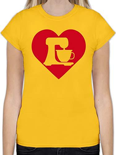 Küche - EIN Herz für Mixer - S - Gelb - L191 - Tailliertes Tshirt für Damen und Frauen T-Shirt