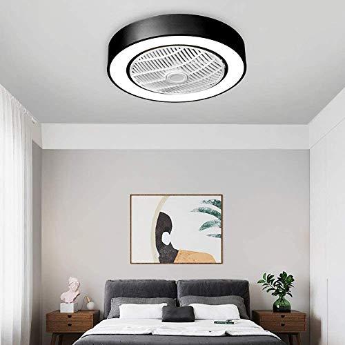 WUAZ 50Cm Deckenventilator Mit Licht, LED-Fernsteuerungs-3 Farben-Modi Beleuchtung, Unsichtbare Acryl Klingen Metall Shell Halb Erröten-Einfassung Low Profile Fan