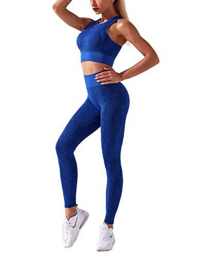 MuCoo Damen 2-teiliges nahtloses Sportbekleidungs-Set, hohe Taille, Schlangenprint, Workout, Laufen, Fitnessstudio, Yoga Outfit-Sets Gr. S, A-Blau