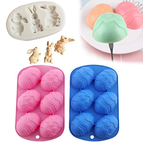 nnko Easter Egg Shaped Silicone Cake Mold 3Pcs, 3D Rabbit Shape Candy Mould, Creative 3D Mould Cake Candle Candy Chocolate Resin Baking