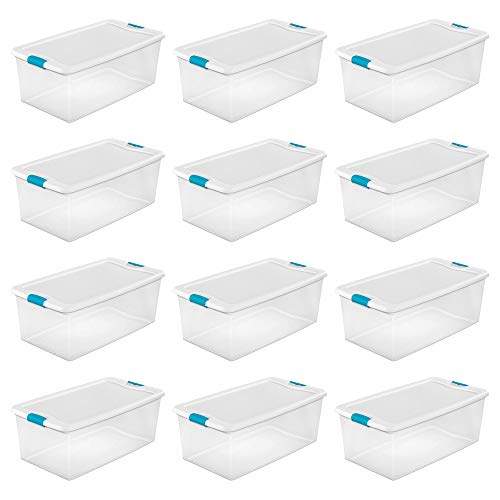 Sterilite 1499 106-Quart Clear Latching Stacking Storage Box, 12 Pack