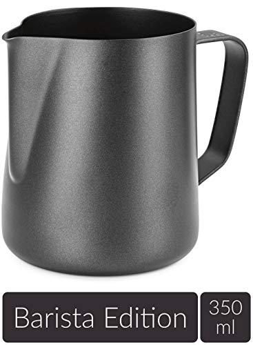 Lambda Coffee® Milchkännchen 350ml Edelstahl für Barista Zubehör Milk jug Pitcher klein schwarz Teflon beschichtet | Milchkanne Milch aufschäumen Latte Art | für Espresso Siebträger Barista Set