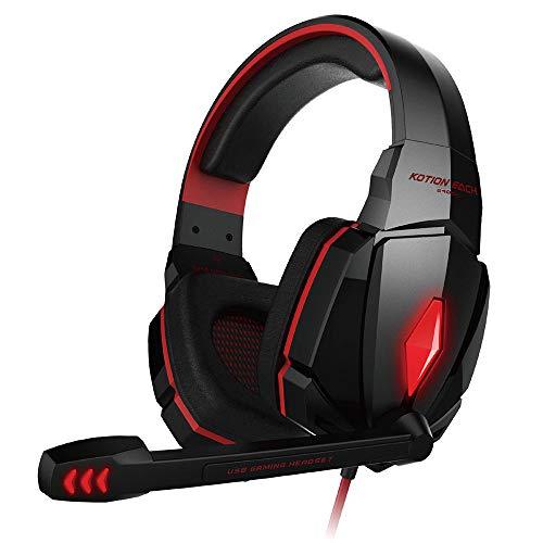 FENG G4000 Vibration Geräuschunterdrückung Wired Stereo-HiFi Gaming Headset mit Mikrofon für PC schwarz (rot)