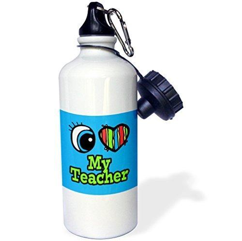 liandun Bright Eye Cœur I Love My Teacher Sport bouteille d'eau, 21oz, blanc