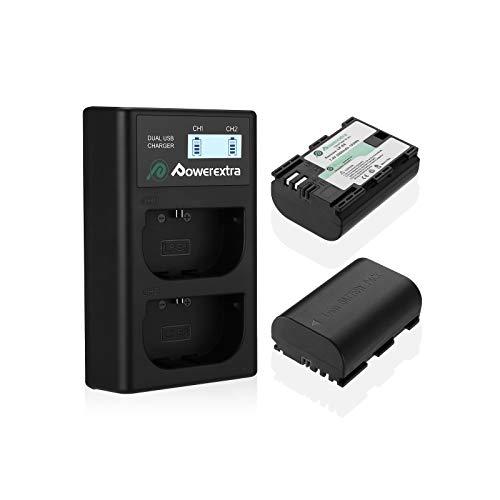Powerextra Batería de Repuesto para Canon LP-E6 y LP-E6N con Cargador Pantalla LCD USB...