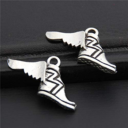 DIY038089 Handmade Charms 15Pcs Silver Color Greek Mythology Shoes Charms Shoe with Wing Pendant Fit Bracelet Necklace DIY Metal Jewelry Findings A2983