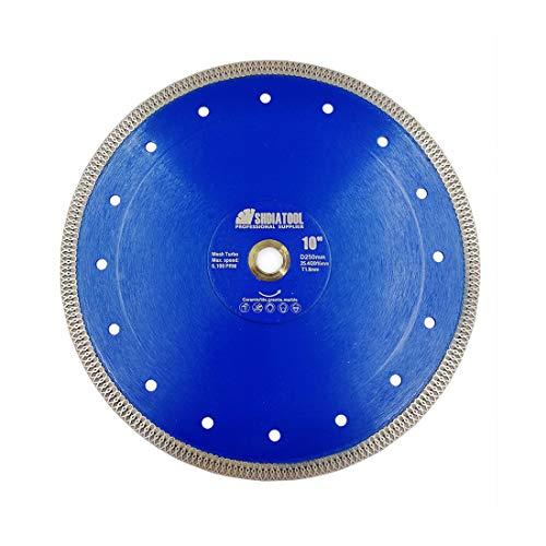 SHDIATOOL Disco Tronzador de Diamante 250mm con X Malla Turbo Hoja de Sierra para Porcelana Azulejos Cerámica Mármol