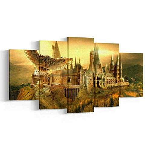 6Lv5Panel Impresiones sobre Lienzo Hogwarts Castle 5 Panel Canvas,Hogwarts Wall Art Print,Harry Poster-200 * 100Cm-Enmarcado