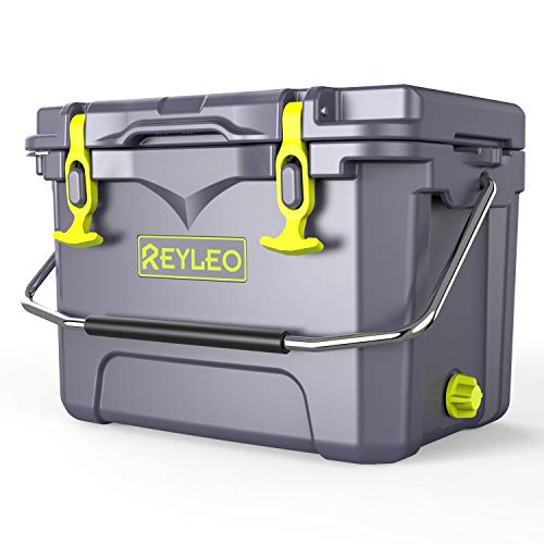 REYLEO Camping Cooler, 21 Quart, 3-Day Ice Retention, Portable Rotomolded Cooler, 30-Can Capacity, Bear Resistance Ice Chest (Built-in Bottle Opener, Cup Holder,Fish Ruler)