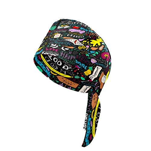 LIUBT - Gorra de trabajo con botones para restaurante y cocina, diseño de arte de pared, ajustable, sombreros de trabajo con banda para el sudor para mujeres, hombres, niños, niñas, color negro