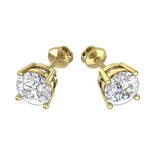 Triostar Pendientes de tuerca redondos de 1,60 quilates con diamante de moissanita real de 14 quilates con plata de ley 925 para hombre y mujer