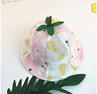 Baby Decoration Hat Baby Pineapple Printed Sun Visor Toddler Sun Protection Mesh Cap Packable Soft Cotton Hat for 6-24 Months(Pink) Cute Cap (Color : Pink, Size : 50cm)
