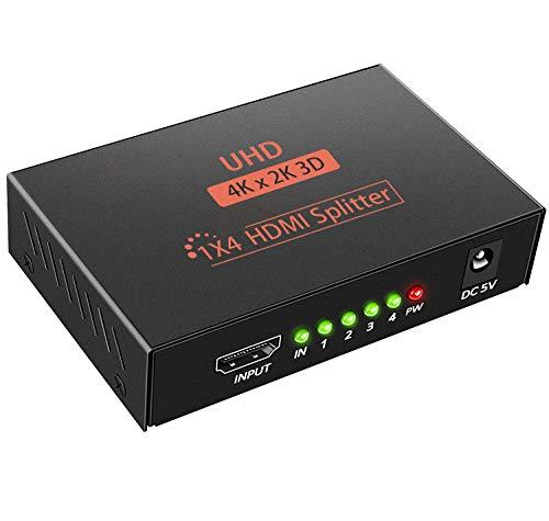 HDMI Splitter 1 IN 4 Out 3D 4K 1080P HDMI Verteiler Splitter 1x4 HDCP 1.4 HDMI Verteiler Verstärker mit USB Kabel kompatibel mit PC PS3 HDTV Blu-ray Projektor DVD usw (schwarz)