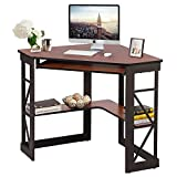 VECELO Corner Work/Writing, Compact Home Office Desk,with Smooth Keyboard Tray & Storage Shelves, Teakwood Brown