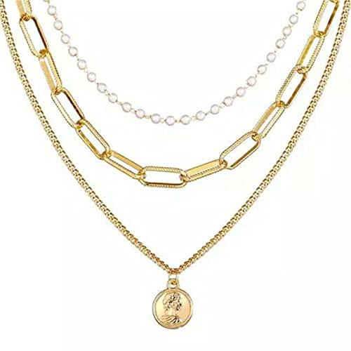 CXWK Collares Colgantes de Retrato de Bloqueo de múltiples Capas a la Moda para Mujer, Collar de corazón con Llave de Metal Dorado, Regalo de joyería