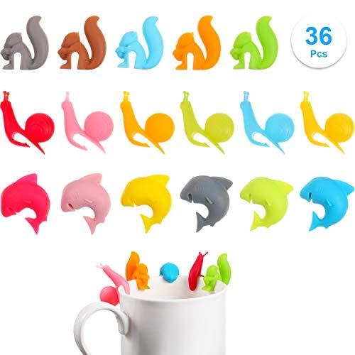 36 Stück Teebeutel Halter Silikon Süßer Teebeutel Halter Bunter Teebeutel Clip Tierförmige Teebeutel Halter für Tassen- und Becher Marker Schnecken Eichhörnchen Haifisch Formen