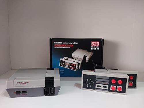 Miniconsola de juegos retro, consola portátil con 620 juegos, salida AV, con dos mandos para TV. NES de 8 bits, para niños y adultos