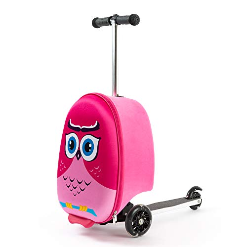 Kiddietotes Lightweight Carry-on Scooter Suitcase for Girls - Kids Luggage with LED Light Up Wheels - Owl