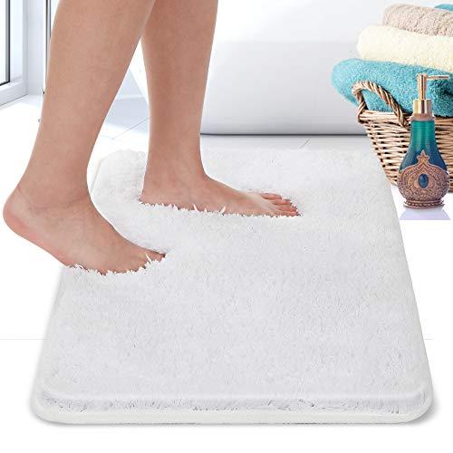 Alfombra de baño antideslizante, suave y esponjosa, lavable a máquina, fácil de limpiar, superabsorbente, adecuada para bañera, ducha y baño (blanco, 40 x 61 cm)