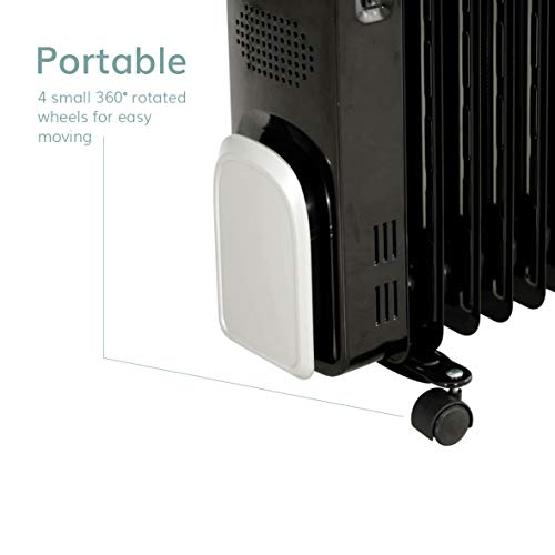 Jack Stonehouse 7 Fin 2KW Portable LED Electric Oil Filled Radiator Heater in Black-Adjustable Thermostat + 24 Hr Timer + Safety Tip Over Switch