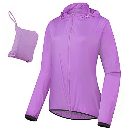 Cortavientos Ciclismo Mujer Plegable Impermeable Running Chaqueta con Capucha Ligero Reflectante Protección UV Respirable MTB Chubasquero,Púrpura,AS=L EU=M