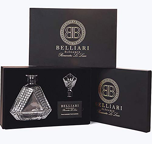 BELLIARI - Triangle Whiskey Decanter with Black Whiskey Velvet Tray and Designer Gift Box - Crystal Diamond Decanters - 750ml Personalized Liquor Decanter For Bourbon, Whisky, Scotch And Glass Stopper