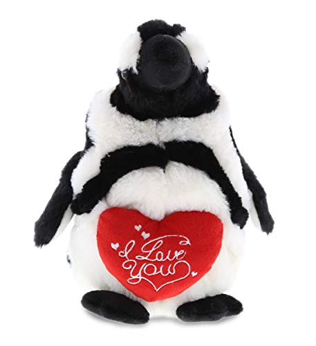 DolliBu Large African Penguin I Love You Heart Message Stuffed Animal 9 Inch, for Boyfriend or Girlfriend, Cute Teddy Bear with Heart Plush Toy for Friend, Romantic Anniversary, Valentine's Day Gift