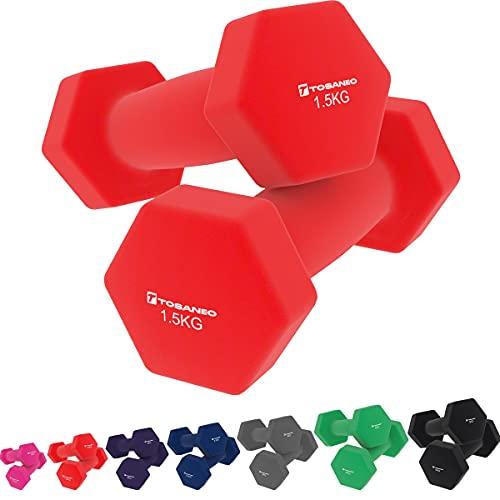Tosaneo 2er Set Hanteln Neopren Kurzhanteln Gewichte für Gymnastik Aerobic Fitness Hantelset 2X 1,0kg bis 5,0kg Hantel 2X 1,5kg rot