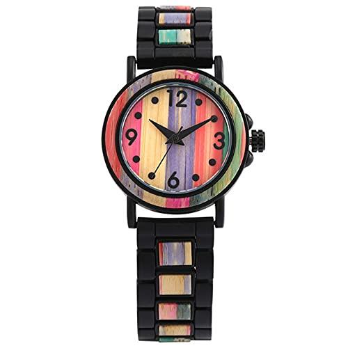 GIPOTIL Relojes de Cuarzo para Mujer Reloj Creativo de Pulsera de Madera de Acero Inoxidable para Mujer Números arábigos Dial analógico Negro Reloj Femenino de Moda, A