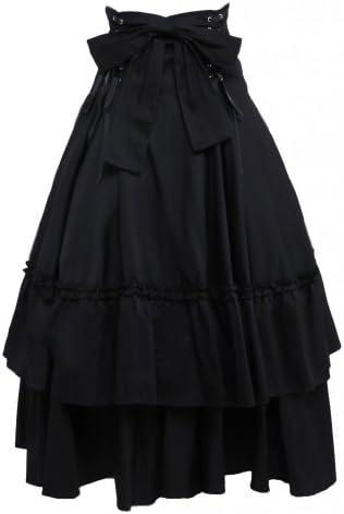 M4U Womens Cotton Black Polka Ruffled Lace Bottom Lolita Skirt Black Medium product image