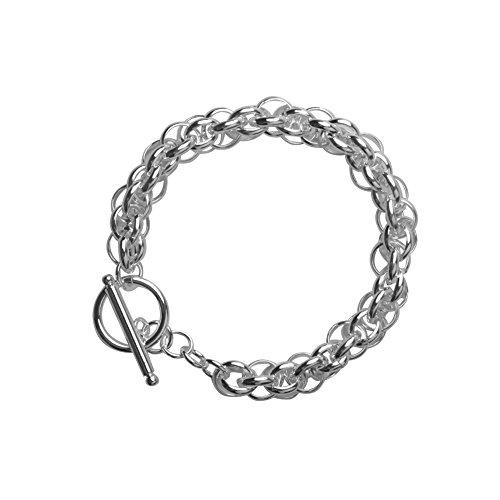 Nykkola Armband, klassisches Design, T-Verschluss, Unisex, versilbert mit 925erSterling-Silber