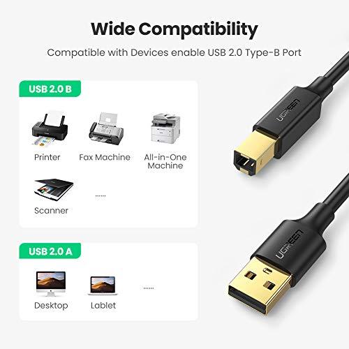 UGREEN Cable Impresora para HP Epson, Cable Largo de Impresora a Ordenador USB 2.0 Tipo A a Tipo B para Impresora Brother, Canon, Lexmark, Samsung, Escáner, Disco Duro, Fotografía Digital(5 Metros)