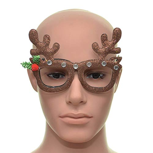 Shatchi 15653-CHRISTMAS-GLASSES-1STKS Rendier Bruin Kerst Bril Fancy Kerstmis Jurk Novelty Party Accessoires benodigdheden Selfie Photo Props Tas Stocking Fillers, Multi