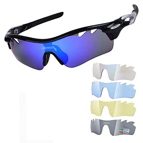 JIAYANLH Gafas de Sol Polarizadas Protección UV400 con 5 Lentes Intercambiables y Monturas TR-90,para Running MTB Bicicleta (D)