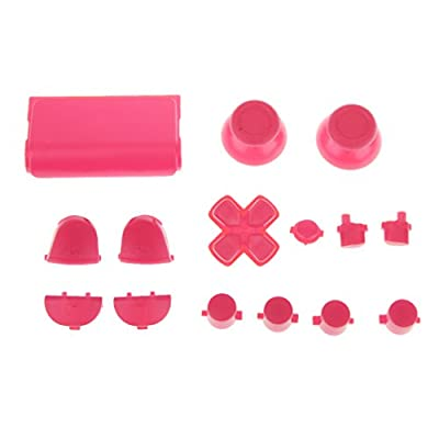MagiDeal L2 R2 L1 R1 Thumbstick Joystick D-pad Anolog Cap Button Mod Game Set Bullet Kit for Sony PS4 Controller Pink