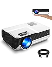 """FunLites 4600lux Portable Video Projector,Supported 1080P Outdoor Movie Projector with 200"""" Display 50,000 Hrs, LED HD Projector Compatible with Fire TV Stick,PS4,HDMI,VGA,AV and USB"""