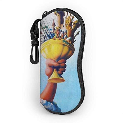 N\A Estuche Blando para Gafas de Sol con Llavero con mosquetón, Estampado de Islas de fantasía Bolso Ultraligero portátil de Neopreno con Cremallera para Gafas