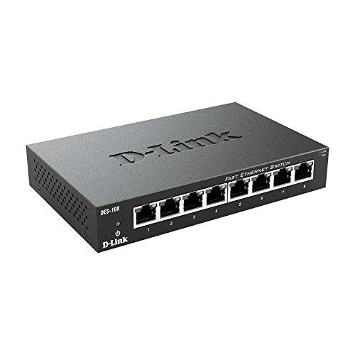 D-Link DES-108 8-Port Layer2 Fast Ethernet Switch Metall (10/100 Mbit/s, einfache Plug & Play-Installation, automatische MDI/MDIX-Anpassung, automatische Geschwindigkeitserkennung, lüfterlos)