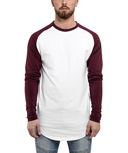 Blackskies Baseball Longsleeve T-Shirt | Langes Oversize Fashion Basic Langarm Raglan Herren Longshirt Long Tee Melliert - Weiß-Burgundy Large L