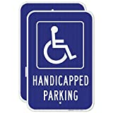 Handicap Parking Sign - (2 Pack) - Blue Handicapped Sign | 12x18 Inches,3M EGP Reflective 0.63 Aluminum, Pre Rrilled Holes, Fade Resistant Outdoor Use, Made in USA by Sigo Signs