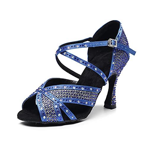 Peep Toe Rhinestones Zapatos De Baile Latino Correa Cruzada Salón De Baile...